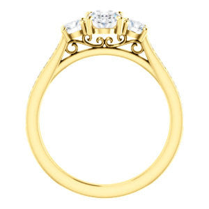 CZ Wedding Set, featuring The Tess engagement ring (Customizable Oval Cut Trellis-Enhanced Bridge Setting with Semi-Pavé Band)