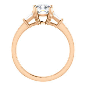Cubic Zirconia Engagement Ring- The Hazel Rae (Customizable Cushion Cut Design with Quad Baguette Accents and Pavé Band)