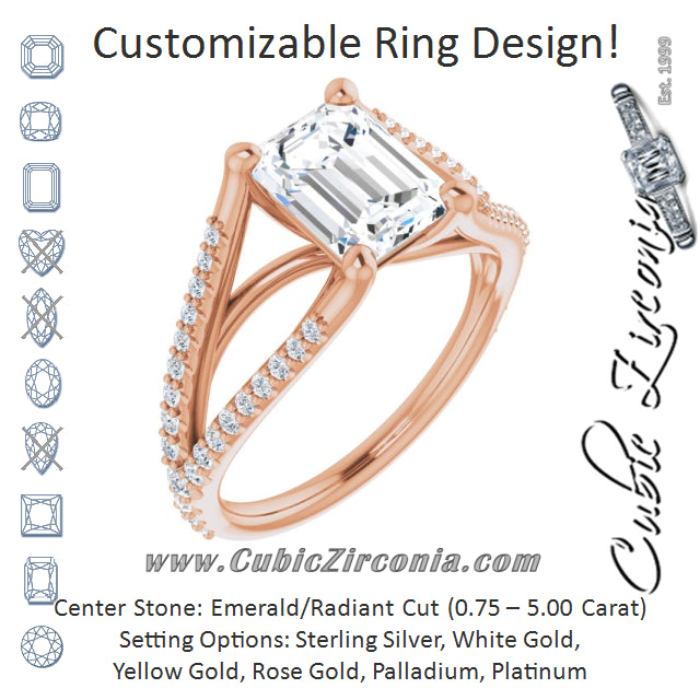 Cubic Zirconia Engagement Ring- The Addison (Customizable Cathedral-raised Emerald Cut Center with Exquisite Accented Split-band)
