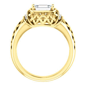Cubic Zirconia Engagement Ring- The Leilani (Customizable Emerald Cut Vintage Crown Setting with Oversized Crosshatch Band)