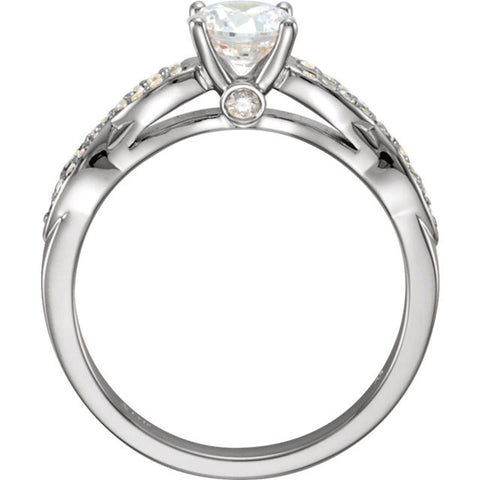 Cubic Zirconia Engagement Ring- The Brenda (0.5-1.5 Carat Round-Cut with Infinity-Inspired Pave Band)