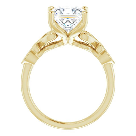 Platinum Customizable 7-stone Design with Princess/Square Cut Center Plus Sculptural Band and Filigree