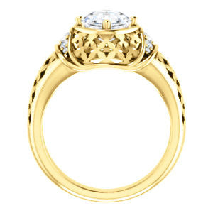 Cubic Zirconia Engagement Ring- The Leilani (Customizable Asscher Cut Vintage Crown Setting with Oversized Crosshatch Band)