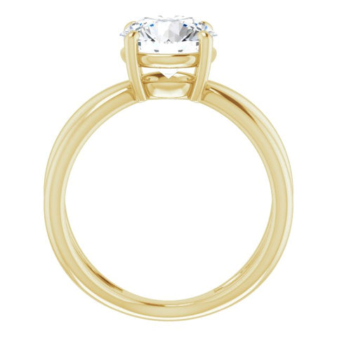 18K Yellow Gold Customizable Round Cut Solitaire with Semi-Atomic Symbol Band