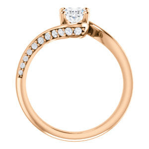 Cubic Zirconia Engagement Ring- The Nicola (Customizable Oval Cut Style with Twisting Bypass Band featuring Inset Pavé Accents)