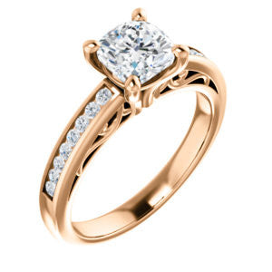Cubic Zirconia Engagement Ring- The Jazmin Ella (Customizable Cushion Cut with Three-sided Filigree and Channel Accents)