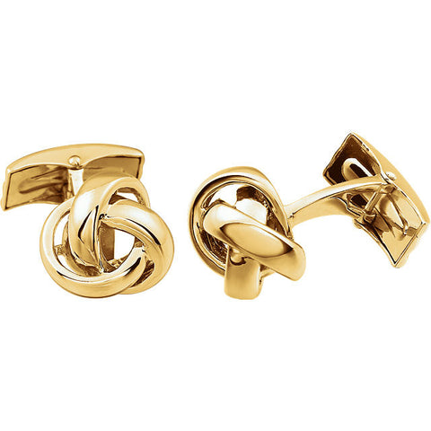 Men's Cufflinks- 14K White or Yellow Gold Fat Knot Design