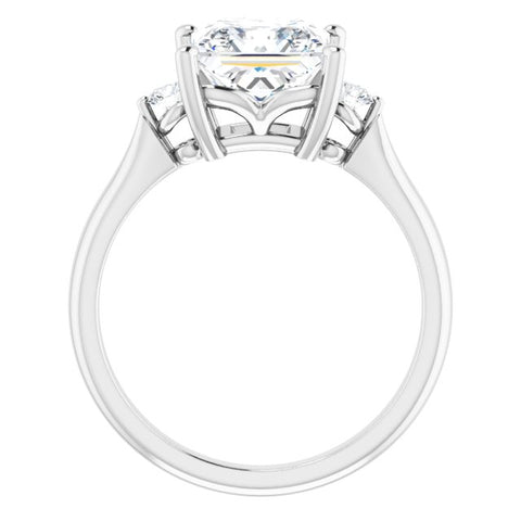 10K Rose Gold Customizable 3-stone Princess/Square Cut Design with Twin Petite Round Accents