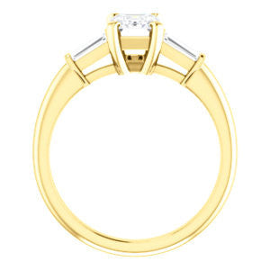 Cubic Zirconia Engagement Ring- The Monica (Customizable Radiant Cut Center with Dual Tapered Baguettes)