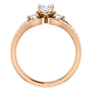 Cubic Zirconia Engagement Ring- The Karen (Customizable Enhanced 3-stone Design with Oval Cut Center, Dual Trillion Accents and Wide Pavé-Split Band)