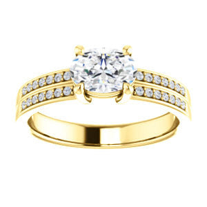 Cubic Zirconia Engagement Ring- The Lyla Ann (Customizable Oval Cut Design with Wide Double-Pavé Band)