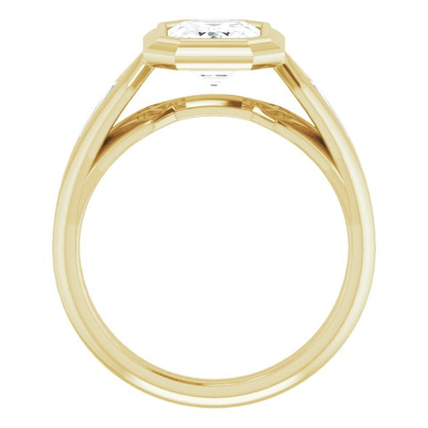 10K Rose Gold Customizable Bezel-set Emerald/Radiant Cut Design with Wide Split Band & Tension-Channel Baguette Accents