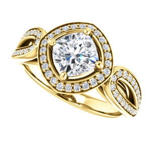 Cubic Zirconia Engagement Ring- The Jordyn Elitza (Customizable Halo-Style Cushion Cut with Twisting Pavé Split-Shank)