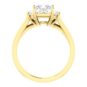 Cubic Zirconia Engagement Ring- The Bianca (Customizable 5-stone Cluster Style with Princess Cut Center)
