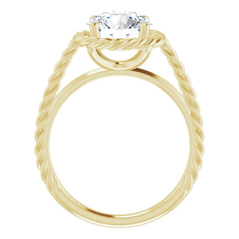 18K Yellow Gold Customizable Cathedral-set Round Cut Solitaire with Thin Rope-Twist Band