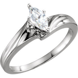 Cubic Zirconia Engagement Ring- The Emma (Customizable Solitaire with Creased Band)
