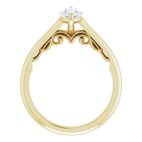 14K White & Yellow Gold Customizable Marquise Cut Cathedral Solitaire with Two-Tone Option Decorative Trellis 'Down Under'