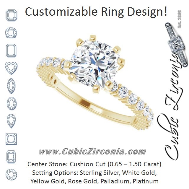 Cubic Zirconia Engagement Ring- The Thea (Customizable 8-prong Cushion Cut Design with Thin, Stackable Pavé Band)