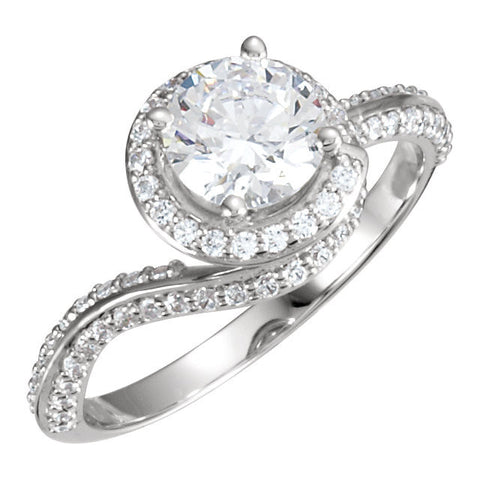 Cubic Zirconia Engagement Ring- The Christine (Unique Round Cut with Pave Band)