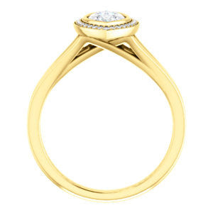Cubic Zirconia Engagement Ring- The Blondie (Customizable Bezel-set Cathedral-style Marquise Cut with Halo Style and V-Split Band)