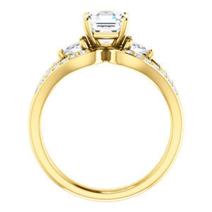 Cubic Zirconia Engagement Ring- The Karen (Customizable Enhanced 3-stone Design with Asscher Cut Center, Dual Trillion Accents and Wide Pavé-Split Band)