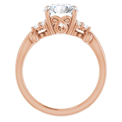 18K Rose Gold Customizable 7-stone Round Cut Design with Tri-Cluster Accents and Teardrop Fleur-de-lis Motif