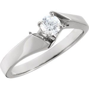 Cubic Zirconia Engagement Ring- The Bobbi (Customizable Artisan Solitaire)