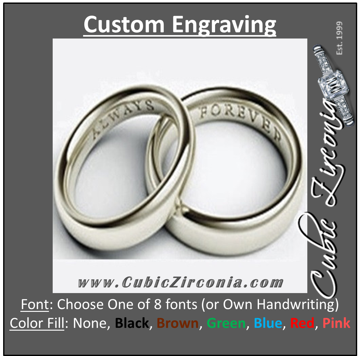 custom engraving for cubic zirconia jewelry rings etc cubic