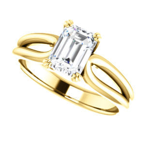Cubic Zirconia Engagement Ring- The Jan (Customizable Emerald Cut Thick-Split Band Solitaire)