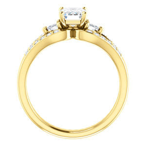 Cubic Zirconia Engagement Ring- The Karen (Customizable Enhanced 3-stone Design with Emerald Cut Center, Dual Trillion Accents and Wide Pavé-Split Band)