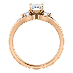 Cubic Zirconia Engagement Ring- The Karen (Customizable Enhanced 3-stone Design with Radiant Cut Center, Dual Trillion Accents and Wide Pavé-Split Band)