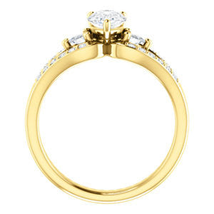 Cubic Zirconia Engagement Ring- The Karen (Customizable Enhanced 3-stone Design with Pear Cut Center, Dual Trillion Accents and Wide Pavé-Split Band)