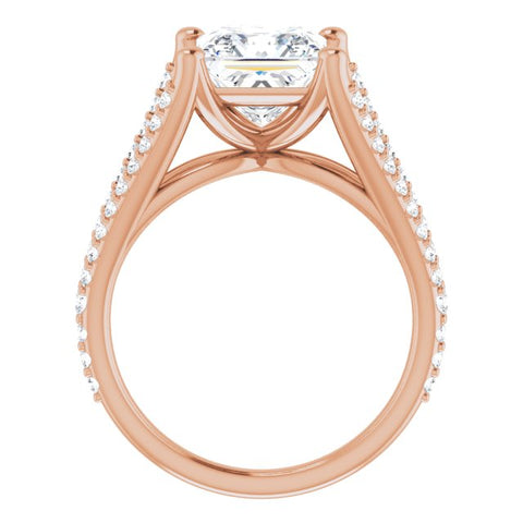 10K Rose Gold Customizable Cathedral-raised Princess/Square Cut Center with Exquisite Accented Split-band