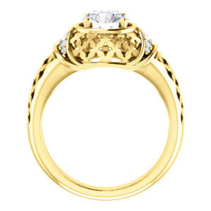 Cubic Zirconia Engagement Ring- The Leilani (Customizable Round Cut Vintage Crown Setting with Oversized Crosshatch Band)
