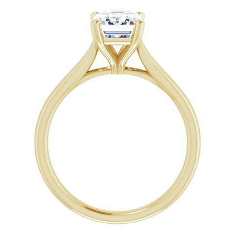 10K Rose Gold Customizable Cathedral-Prong Emerald/Radiant Cut Solitaire