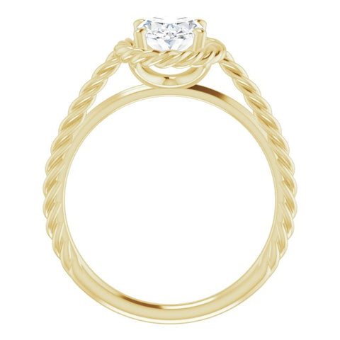 10K Rose Gold Customizable Cathedral-set Oval Cut Solitaire with Thin Rope-Twist Band