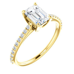 Cubic Zirconia Engagement Ring- The Tanisha (Customizable Cathedral-set Emerald Cut Design with Thin Pavé Band)