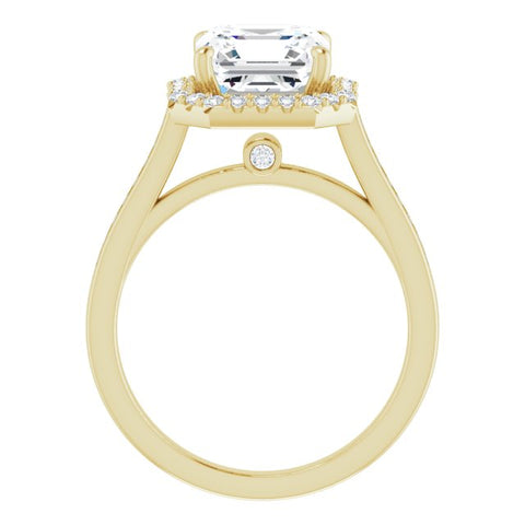 10K Rose Gold Customizable Asscher Cut Design with Halo, Round Channel Band and Floating Peekaboo Accents