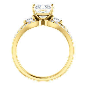 Cubic Zirconia Engagement Ring- The Karen (Customizable Enhanced 3-stone Design with Princess Cut Center, Dual Trillion Accents and Wide Pavé-Split Band)