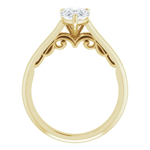 14K White & Yellow Gold Customizable Pear Cut Cathedral Solitaire with Two-Tone Option Decorative Trellis 'Down Under'