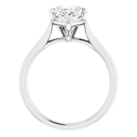 10K Rose Gold Customizable Cathedral-Prong Heart Cut Solitaire