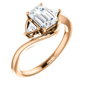 Cubic Zirconia Engagement Ring- The Sophie (Customizable 3-stone Twisting Bypass Style with Emerald Cut Center and Triangle Accents)