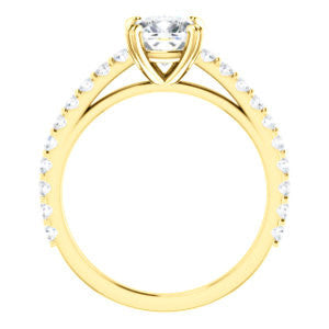 Cubic Zirconia Engagement Ring- The Marianne (Customizable Cathedral-set Cushion Cut Style with Thin Pavé Band)