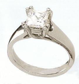 Cubic Zirconia Engagement Ring- The ________ Naming Rights 1219 (1.5 Carat Princess Cut Solitaire with X Cross Band)