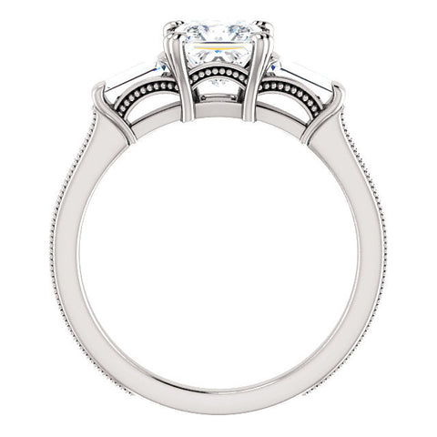 Cubic Zirconia Engagement Ring- The Kimiko (Customizable 3-stone Princess Cut Design with Baguette Accents and Thin Wheat-Filigree Band)