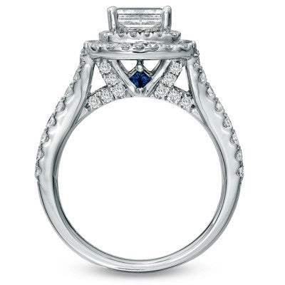 Cubic Zirconia Engagement Ring- The Lisa Love (2.25 TCW Princess Cut 2x Halo with Split-Band Pave and Sapphire Peekaboo)