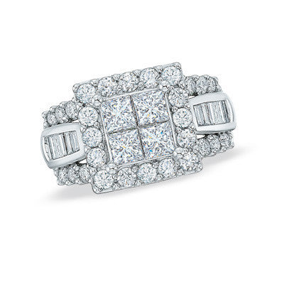 Cubic Zirconia Engagement Ring- The ________ Naming Rights 1212 (2.0 TCW Princess-Cut Quad and Baguette with Oversized Accented Band)