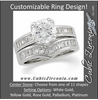 CZ Wedding Set, Style 05-11 feat The Rochelle Engagement Ring (Customizable Baguette Channel)