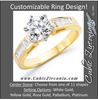 Cubic Zirconia Engagement Ring- The Rochelle (Customizable Baguette Channel)