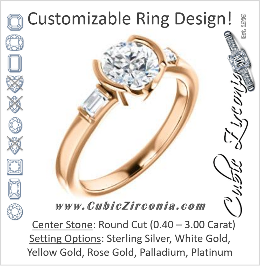 Cubic Zirconia Engagement Ring- The Stephanie (Customizable Bezel-set Round Cut 3-stone with Baguette Accents)